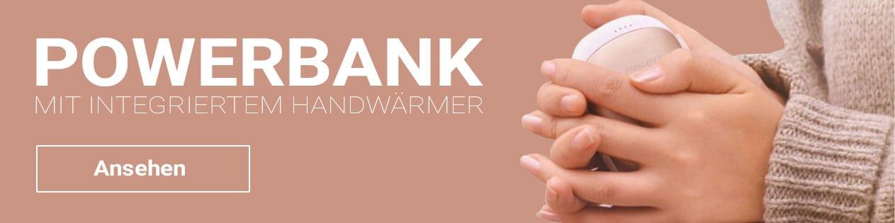 Diese praktische Power Bank hat einen integrierten Handwärmer für kalte Tage!