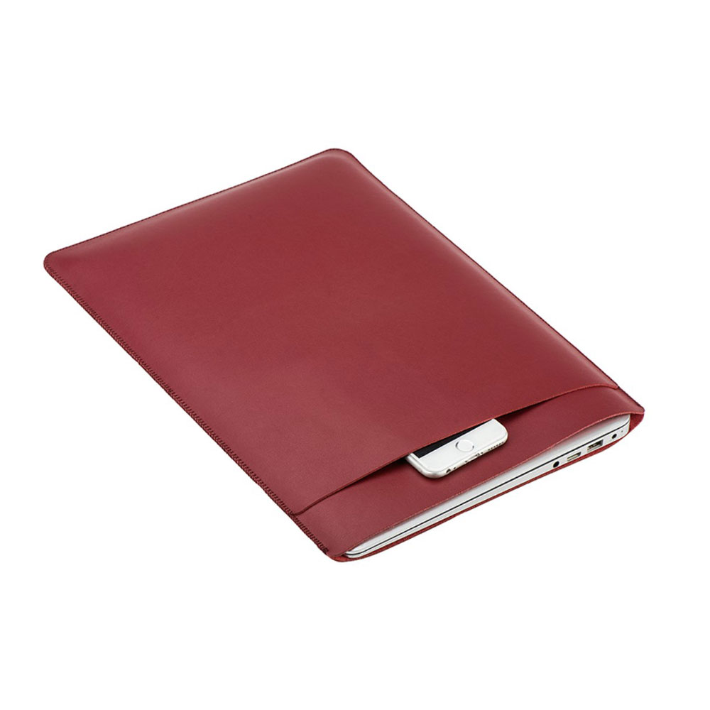 Image of 12 Zoll Notebook Leder Tasche Sleeve MacBook Retina - Rot