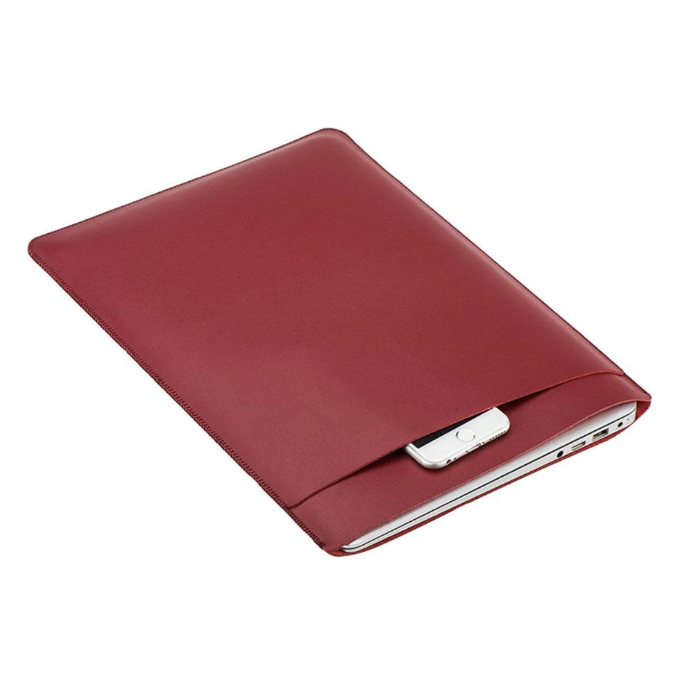 Image of 13.3 Zoll Notebook Leder Tasche Sleeve MacBook Pro (ab 2016) / MacBook Pro Retina / MacBook Air - Rot