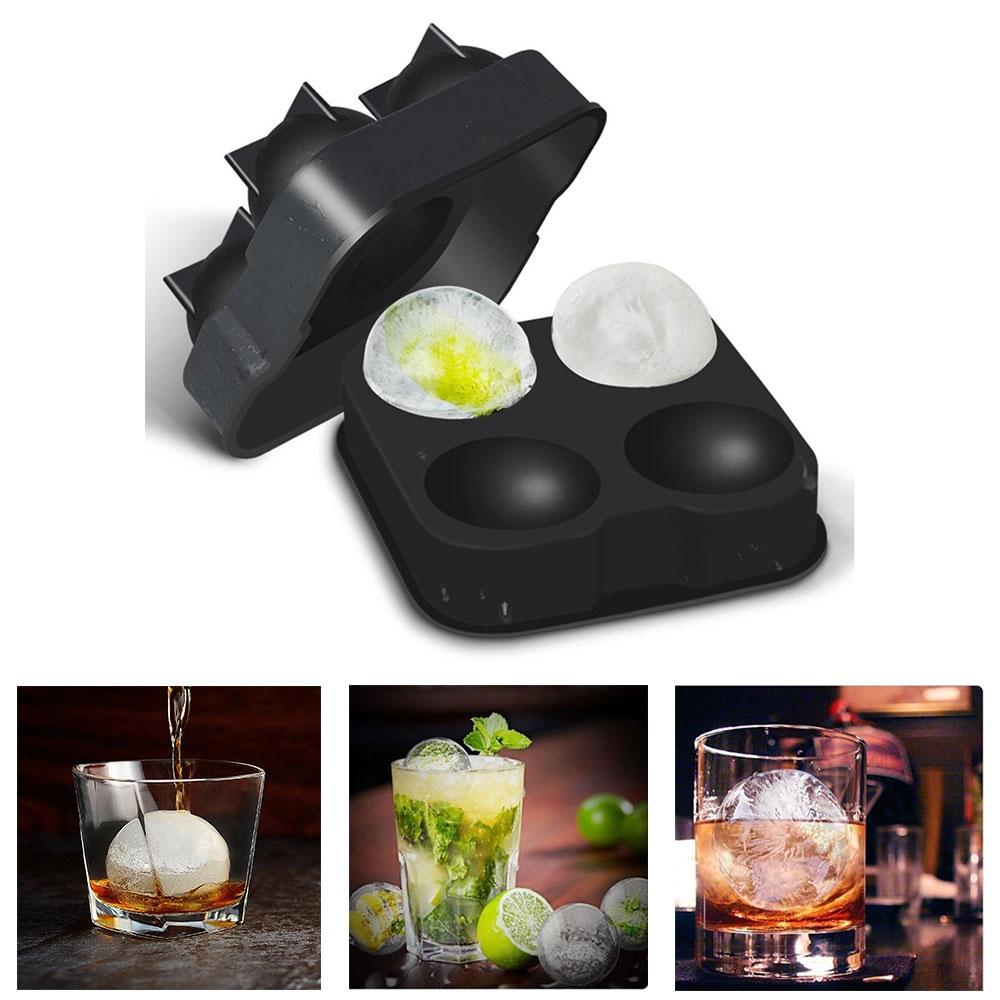4-fach Silikon Eiswürfelform Eiskugelform für Whisky / Cocktails / Longdrinks