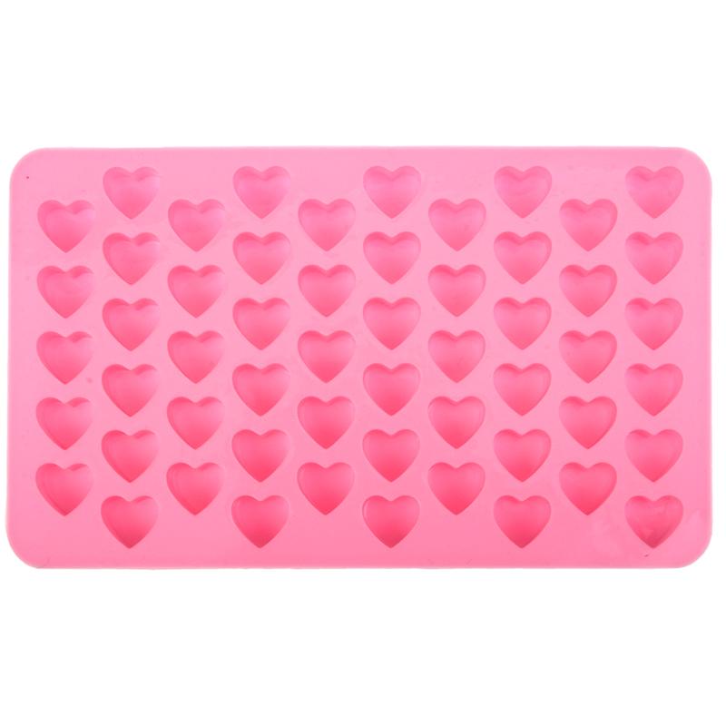 55-fach Herz Eiswürfelform aus Silikon für Shots / Cocktails / Longdrinks - Rosa