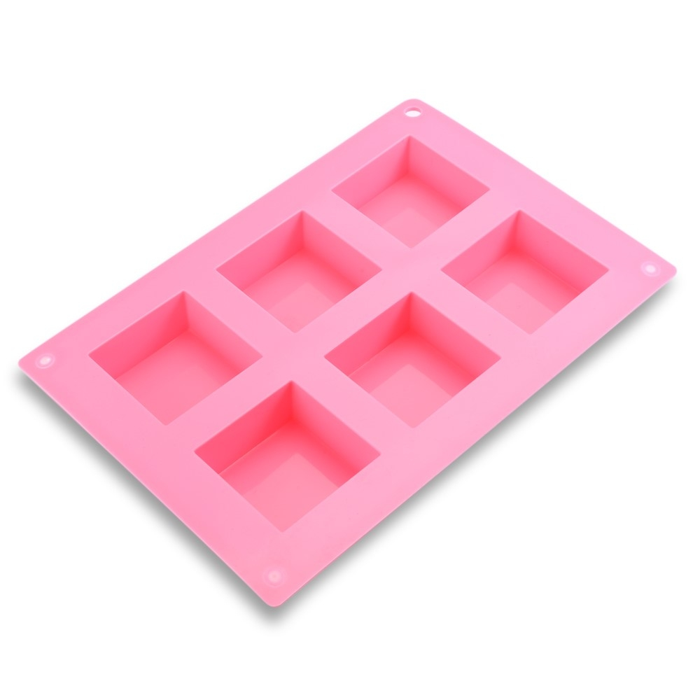 6-fach Eiswürfelform gross Kuchenform aus Silikon für Cocktails / Longdrinks - Rosa