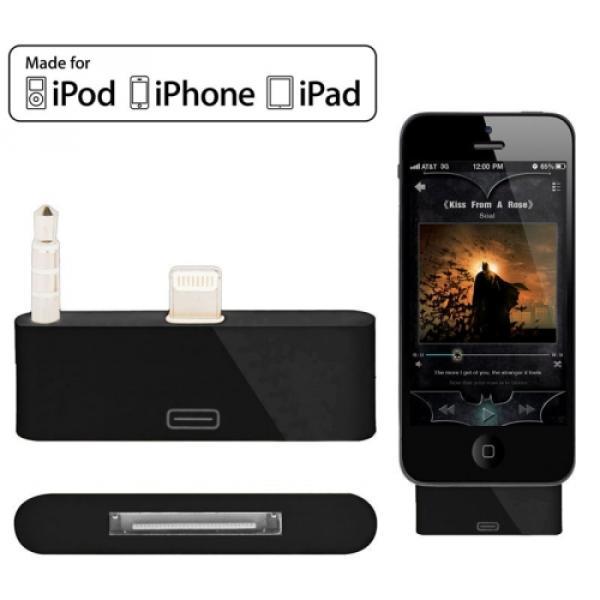 iPhone SE / 5 / 5C / 5S Apple 30pin auf Lightning Audio Adapter mit 3.5mm Anschluss - Schwarz