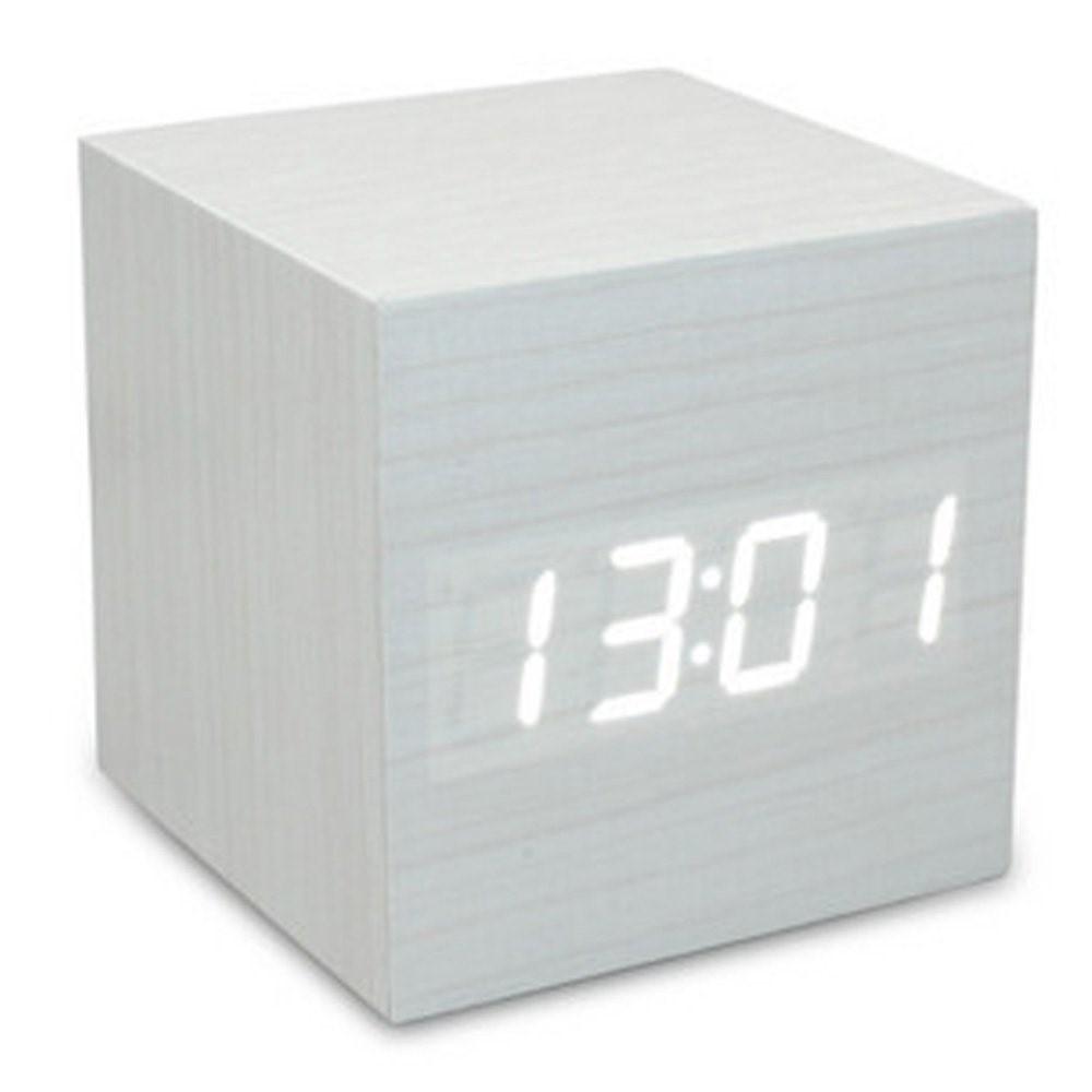 Cube Würfel LED Wecker Uhr Holz Design (Anzeige: Uhrzeit / Datum / Temperatur) - Weiss