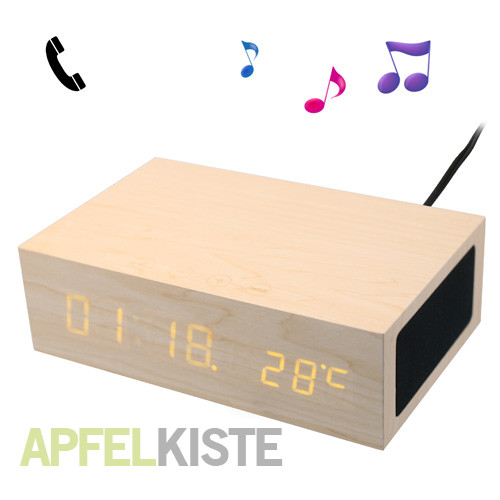 dual usb led bluetooth wecker aus holz braun. Black Bedroom Furniture Sets. Home Design Ideas