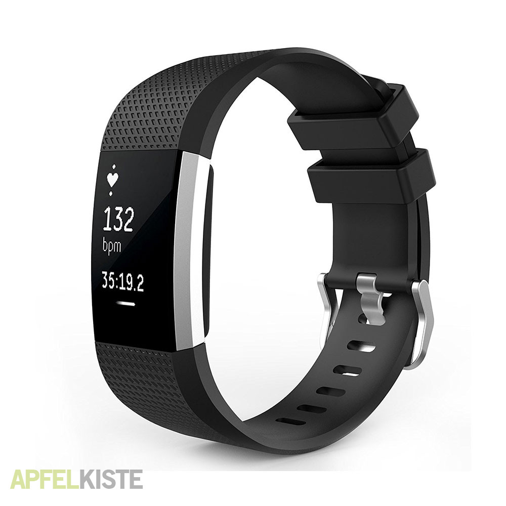 fitbit charge 2 silikon sport armband schwarz. Black Bedroom Furniture Sets. Home Design Ideas