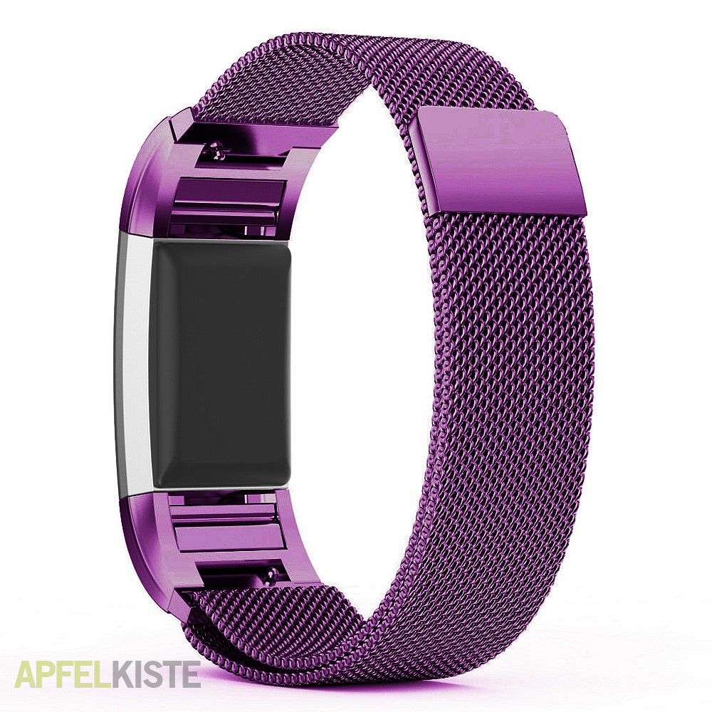 fitbit charge 2 edelstahl armband milanaise lila. Black Bedroom Furniture Sets. Home Design Ideas