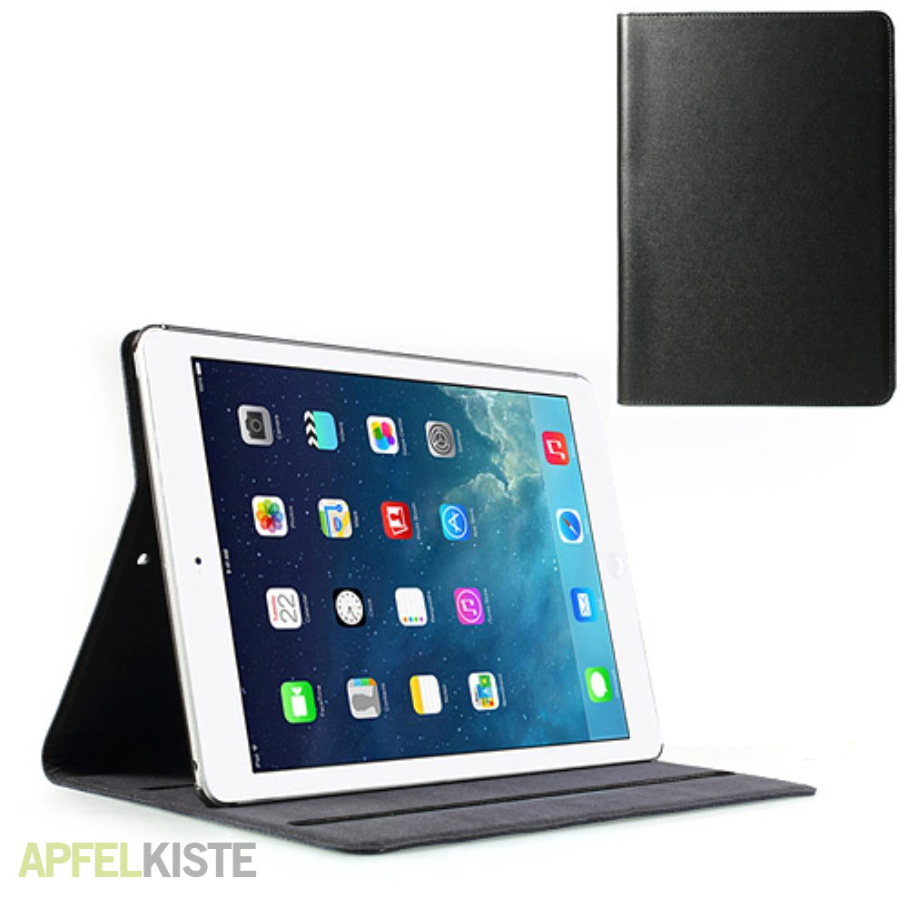 ipad air echtleder tasche h lle schwarz. Black Bedroom Furniture Sets. Home Design Ideas