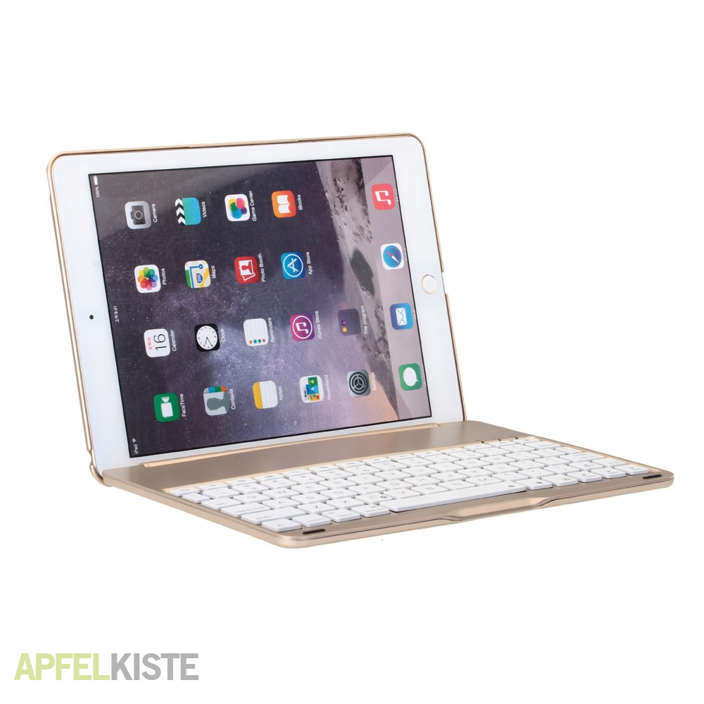 ipad air 2 alu bluetooth tastatur h lle gold. Black Bedroom Furniture Sets. Home Design Ideas