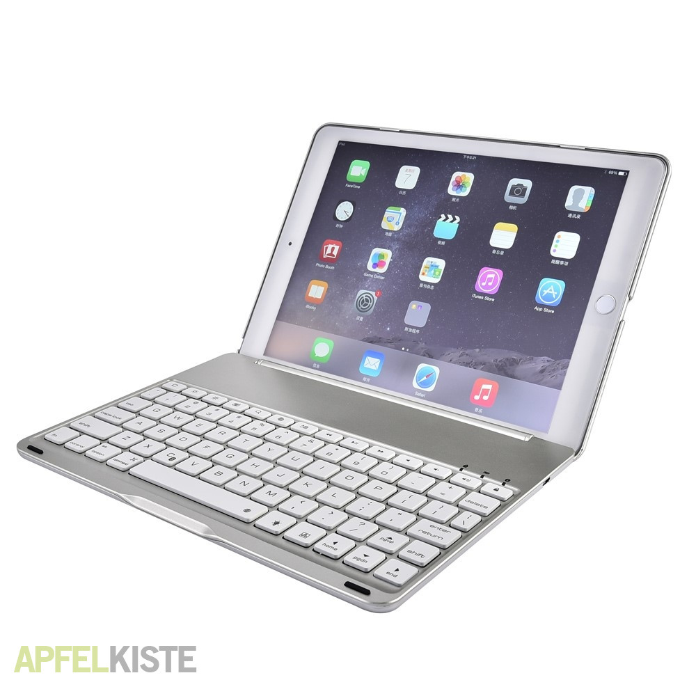 ipad air 2 alu bluetooth tastatur h lle silber. Black Bedroom Furniture Sets. Home Design Ideas
