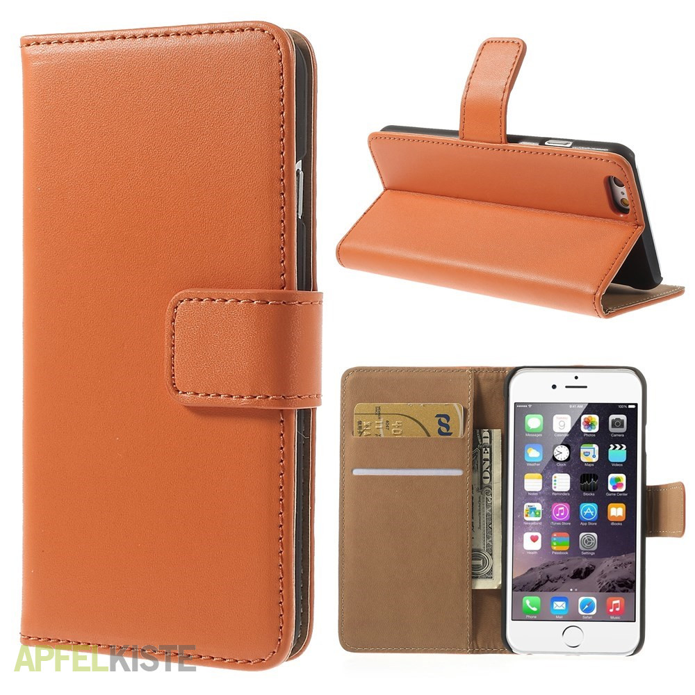 iphone 6 6s echtleder tasche flipcover etui orange. Black Bedroom Furniture Sets. Home Design Ideas
