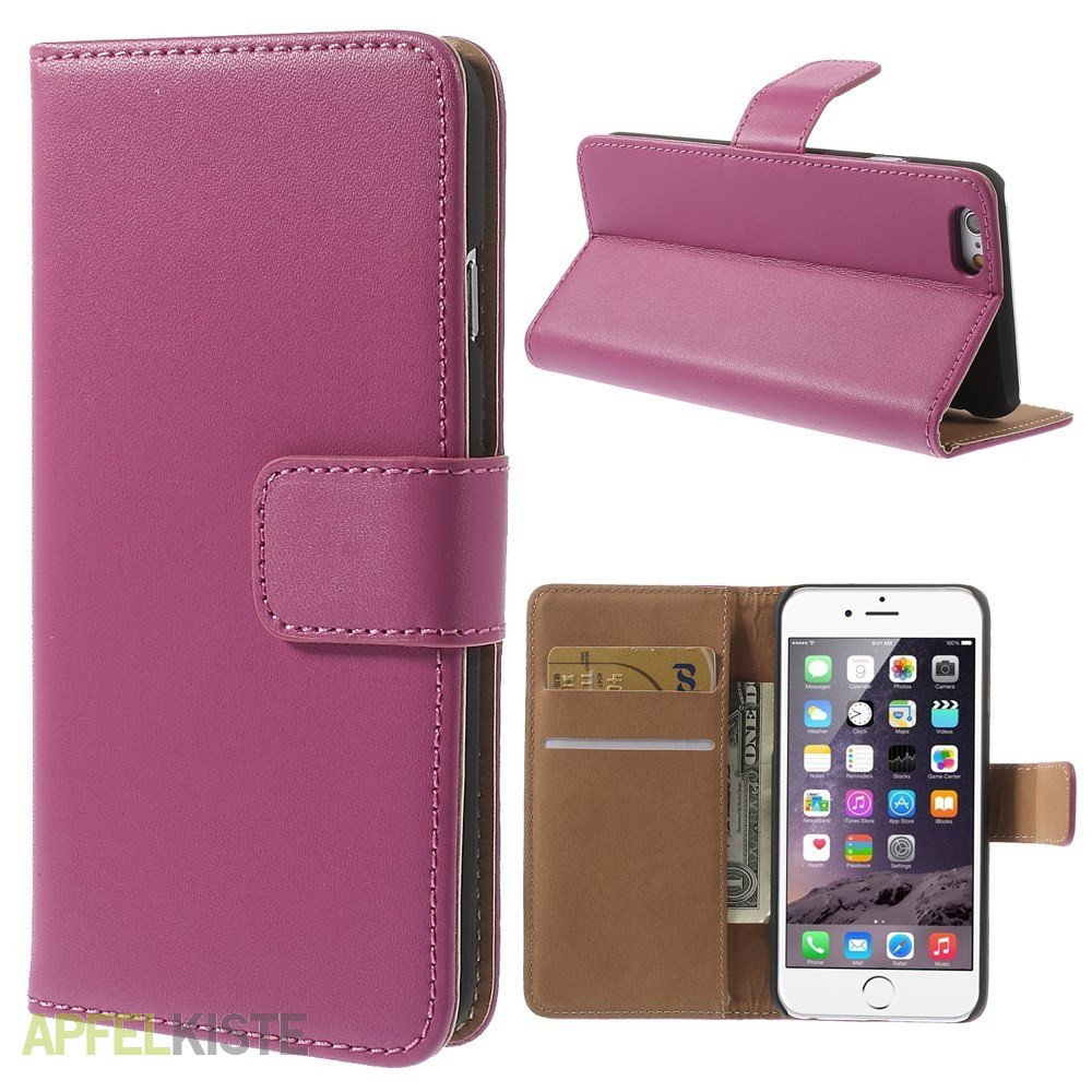 iphone 6 6s echtleder tasche flipcover etui pink. Black Bedroom Furniture Sets. Home Design Ideas