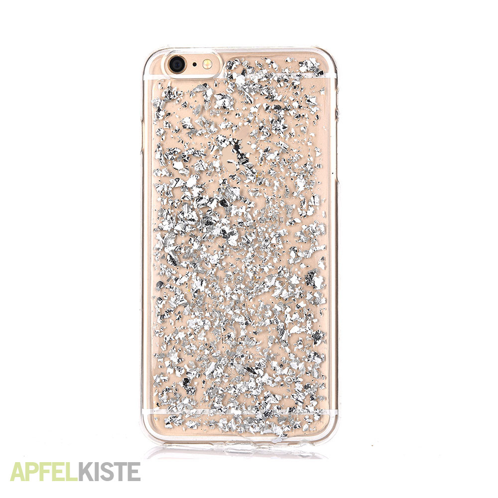 iphone 6 6s gummi case h lle glitzer silber. Black Bedroom Furniture Sets. Home Design Ideas