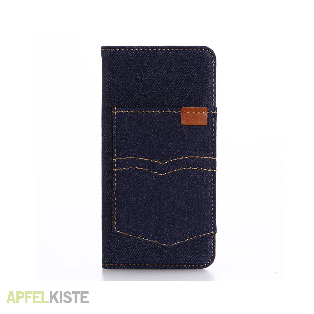 iphone 8 7 stoff tasche jeans look dunkelblau. Black Bedroom Furniture Sets. Home Design Ideas