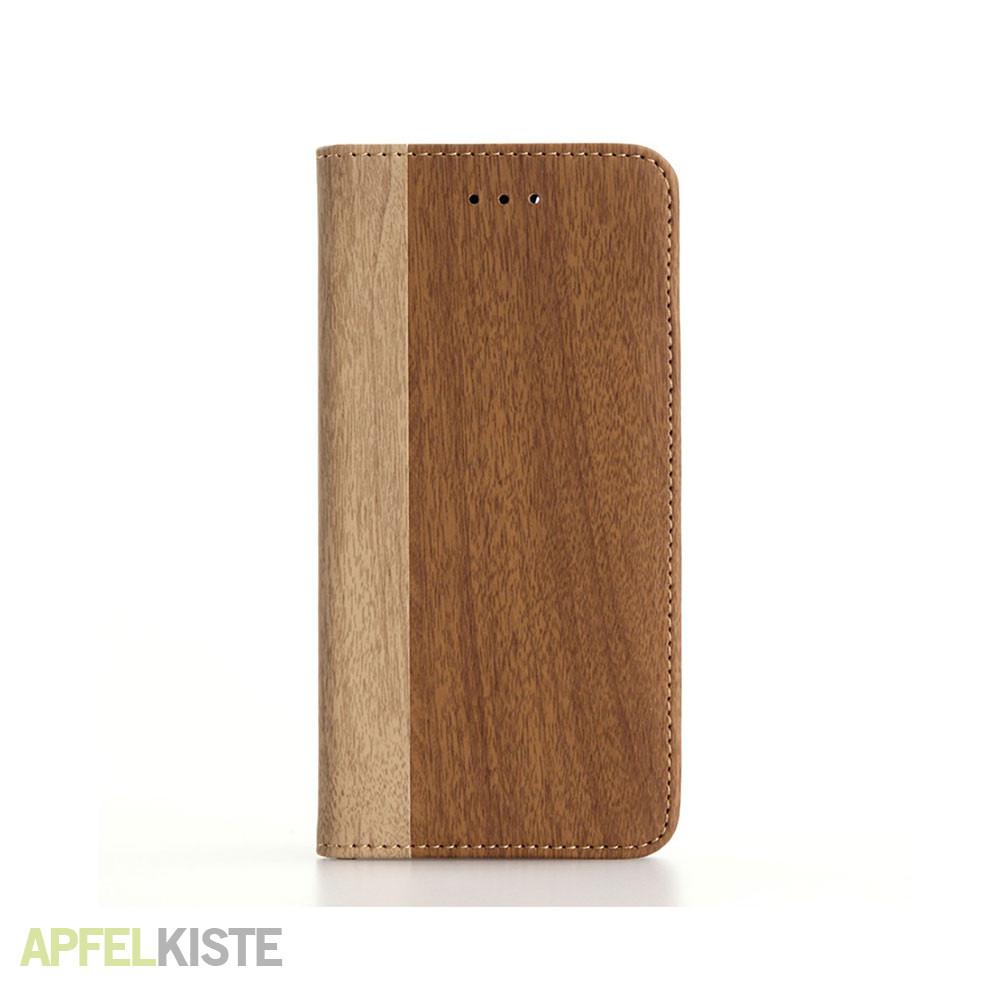 iphone 8 iphone 7 leder tasche holz look braun. Black Bedroom Furniture Sets. Home Design Ideas