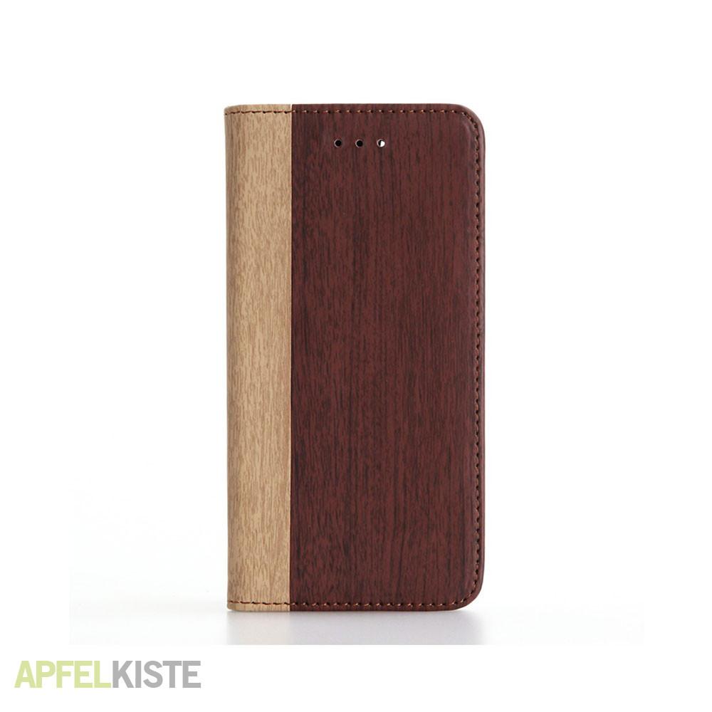 iphone 8 iphone 7 leder tasche holz look rotbraun. Black Bedroom Furniture Sets. Home Design Ideas