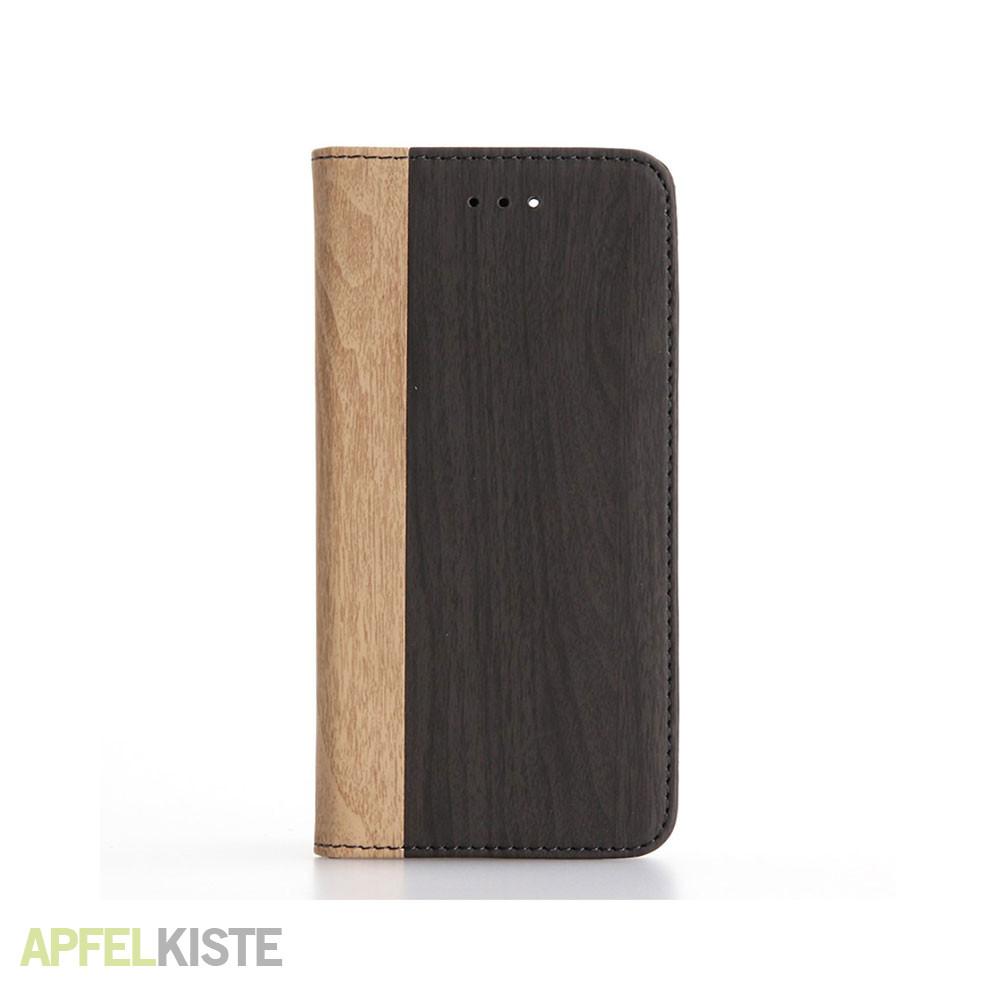 iphone 8 iphone 7 leder tasche holz look schwarz. Black Bedroom Furniture Sets. Home Design Ideas