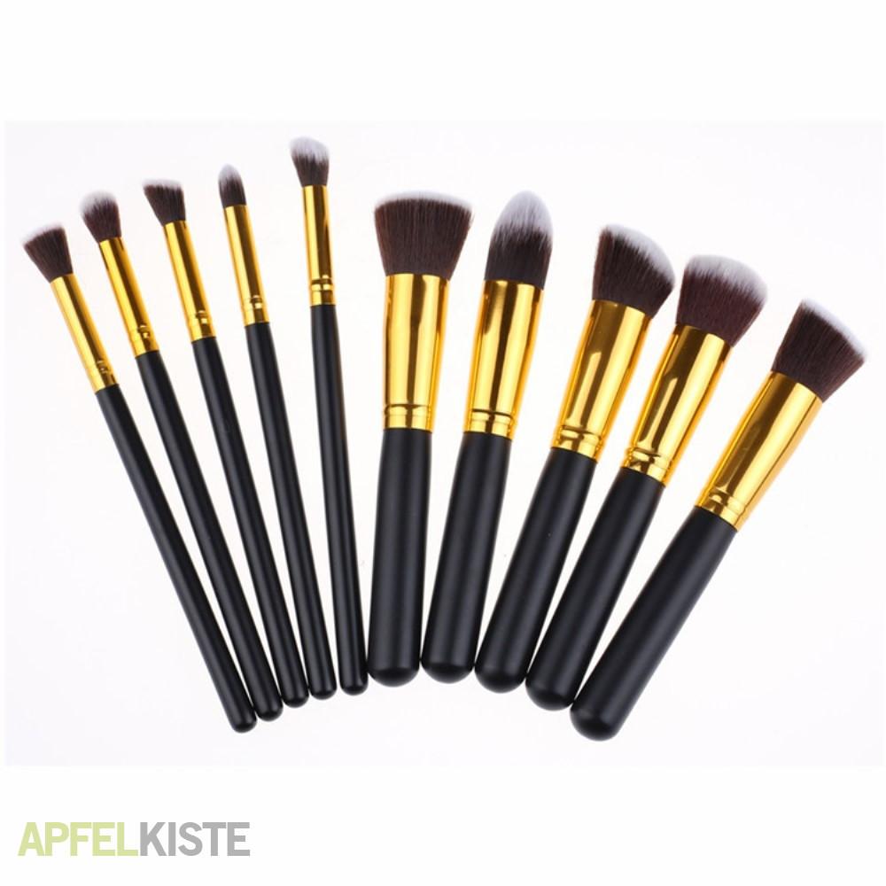 beauty make up pinsel set 10 teile schwarz gold. Black Bedroom Furniture Sets. Home Design Ideas