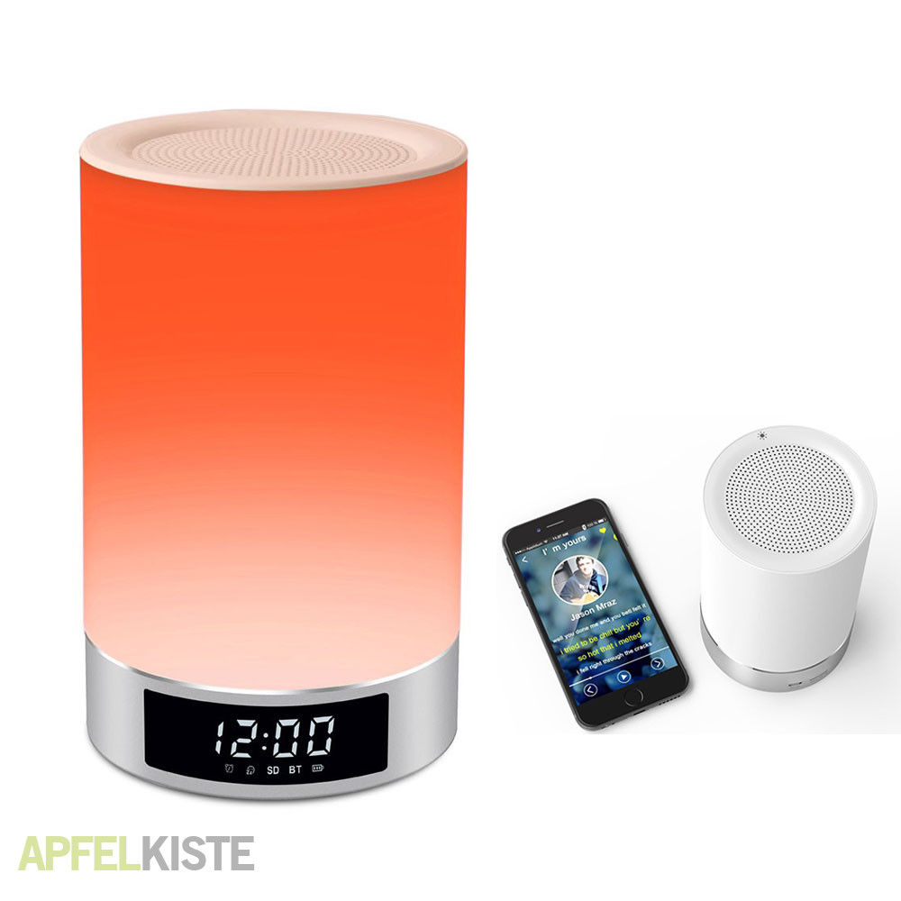 smart led lampe bluetooth lautsprecher silber. Black Bedroom Furniture Sets. Home Design Ideas