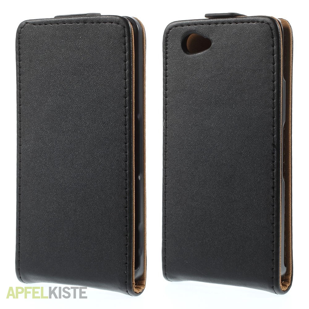 xperia z3 compact leder flip tasche schwarz. Black Bedroom Furniture Sets. Home Design Ideas