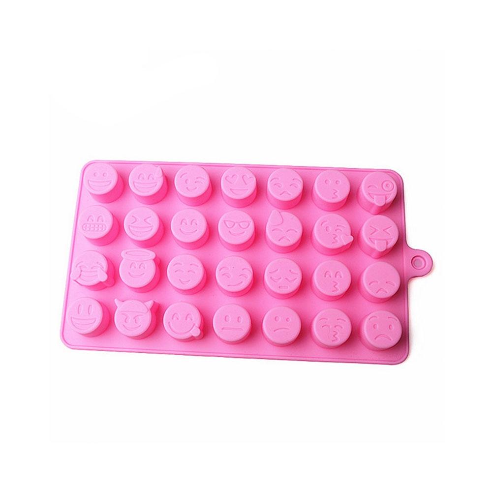 28-fach Emoji Eiswürfelform aus Silikon für Shots / Cocktails / Longdrinks - Rosa