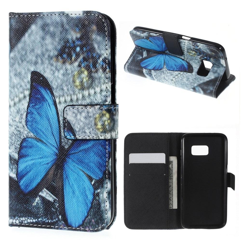 Samsung Galaxy S7 Leder Tasche Portemonnaie Blauer Schmetterling