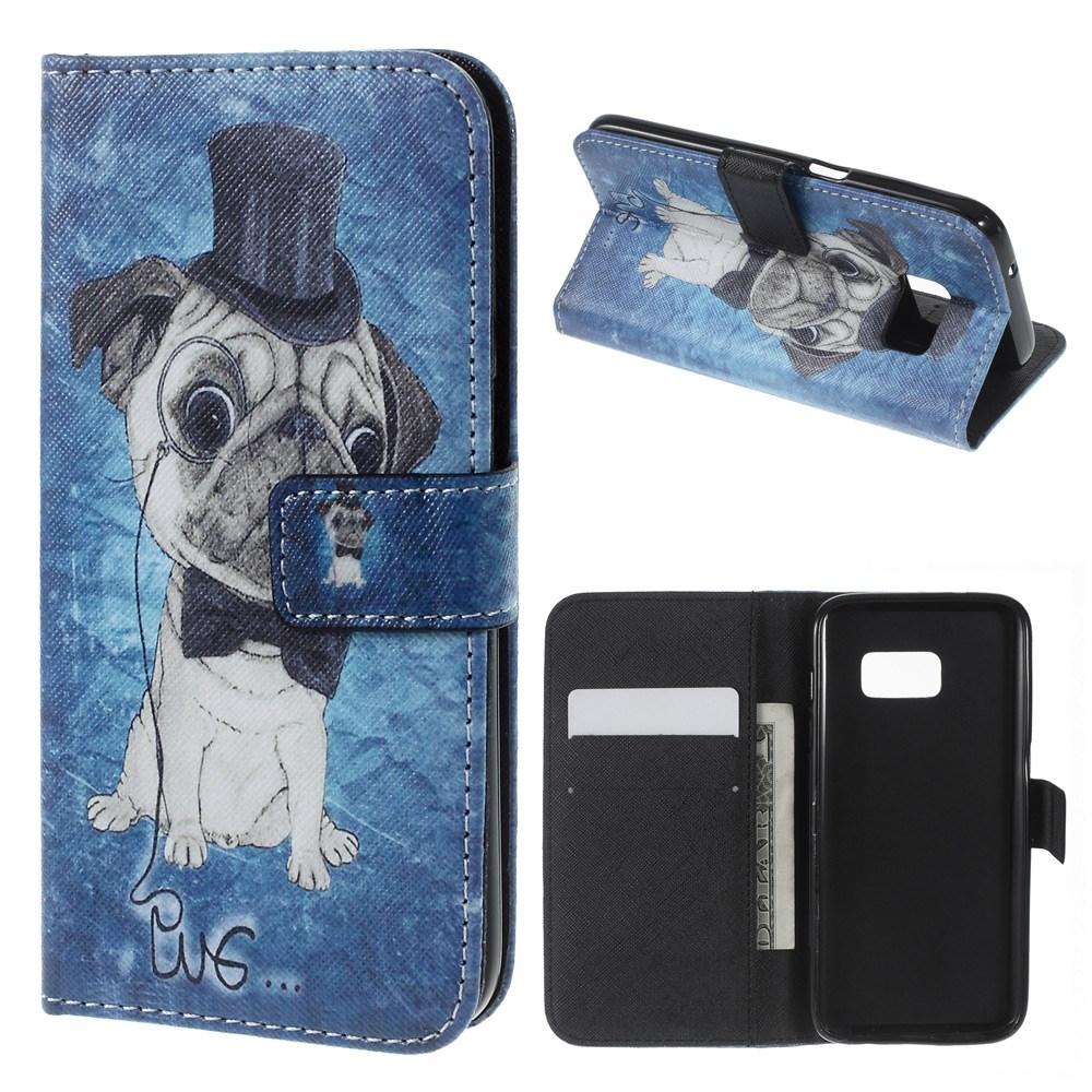 Samsung Galaxy S7 Leder Tasche Portemonnaie Mops mit Zylinder - Blau
