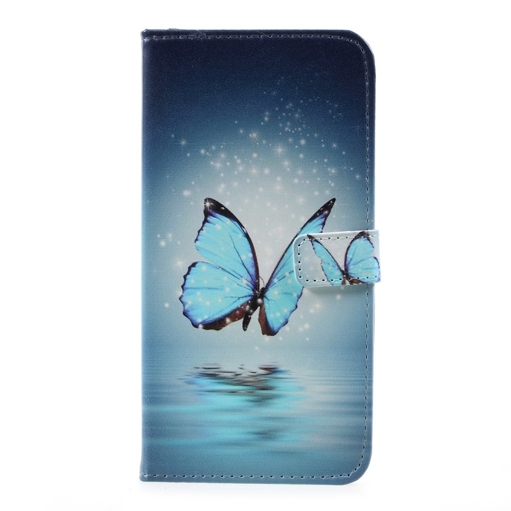 Samsung Galaxy S8 Plus Leder Tasche Portemonnaie mit Kartenfächern - Blaue Schmetterlinge