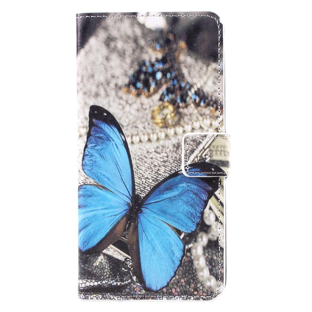 Samsung Galaxy S8 Plus Leder Tasche Portemonnaie mit Kartenfächern - Blauer Schmetterling