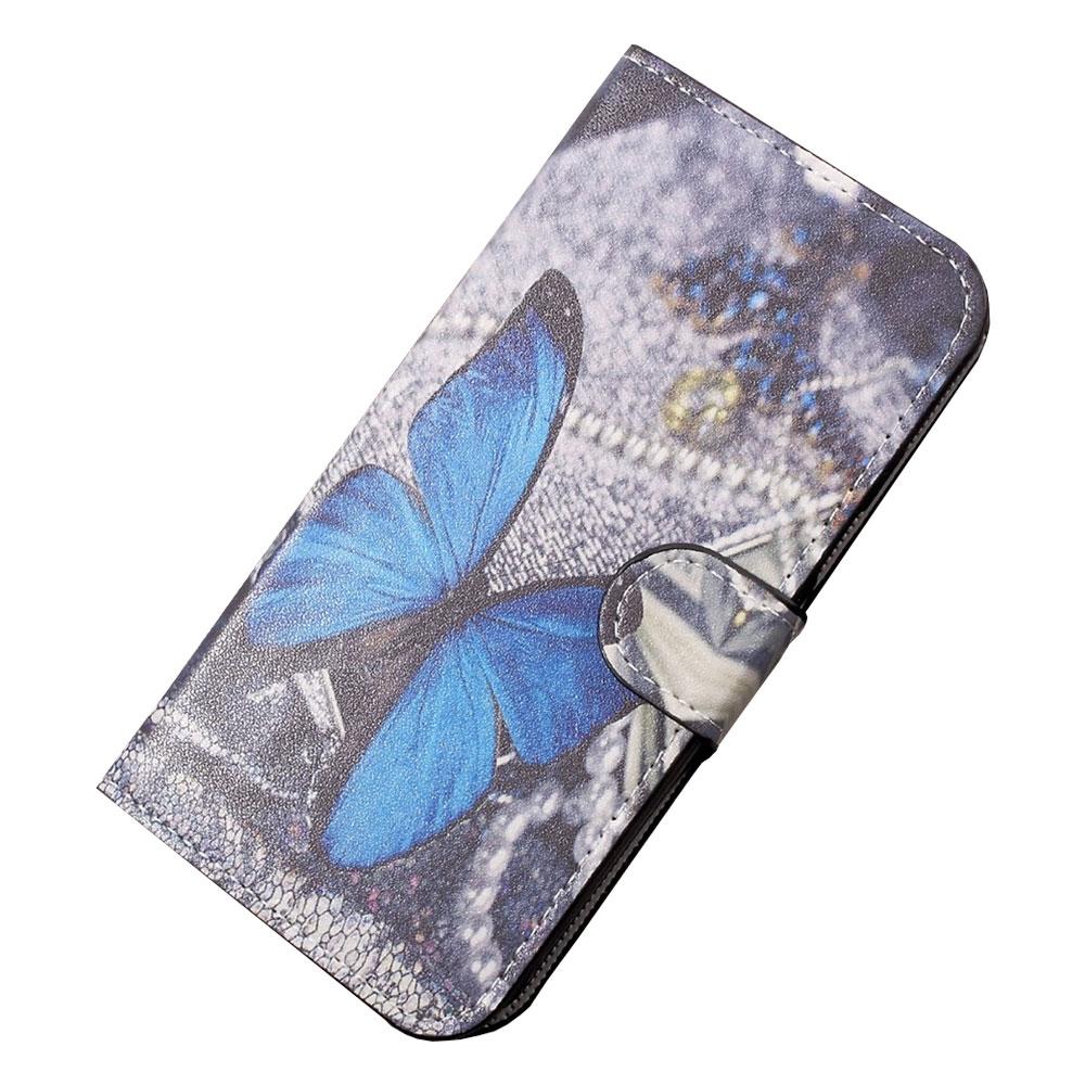 Samsung Galaxy Xcover 4 Leder Tasche Portemonnaie Blauer Schmetterling