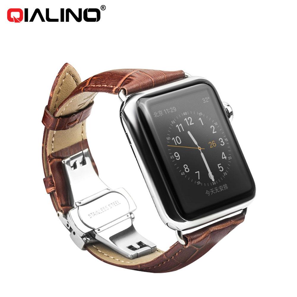 Qialino - Apple Watch (42mm) Ersatz Echtleder Armband im Kroko Look - Dunkelbraun