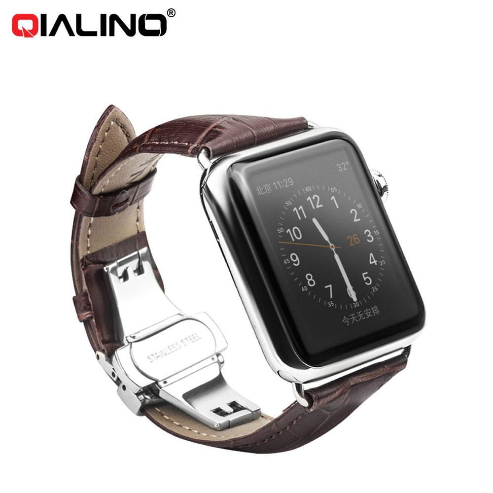 Qialino - Apple Watch (42mm) Ersatz Echtleder Armband im Kroko Look - Rotbraun