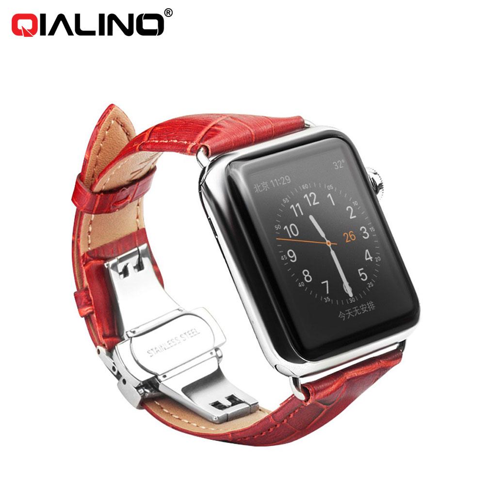 Apple Watch (42mm) Ersatz Echtleder Armband im Kroko Look - Rot