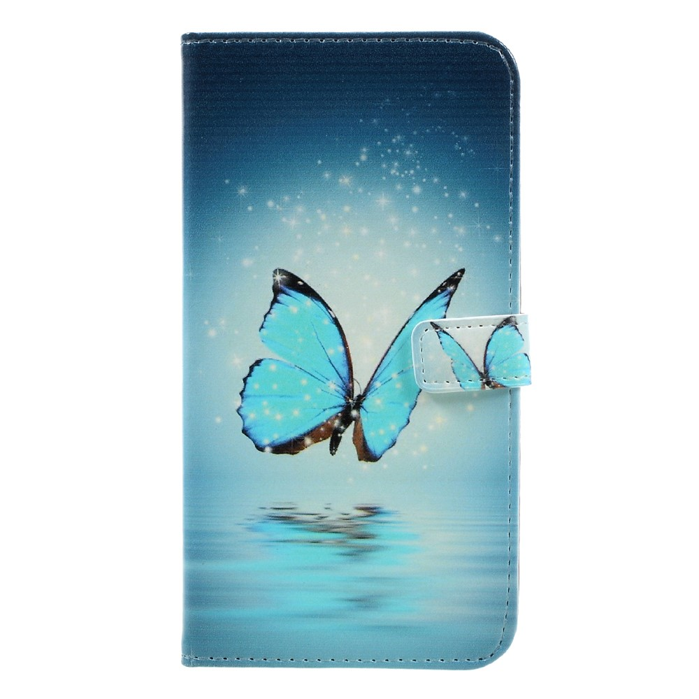 Huawei Mate 9 Leder Tasche Portemonnaie Blaue Schmetterlinge