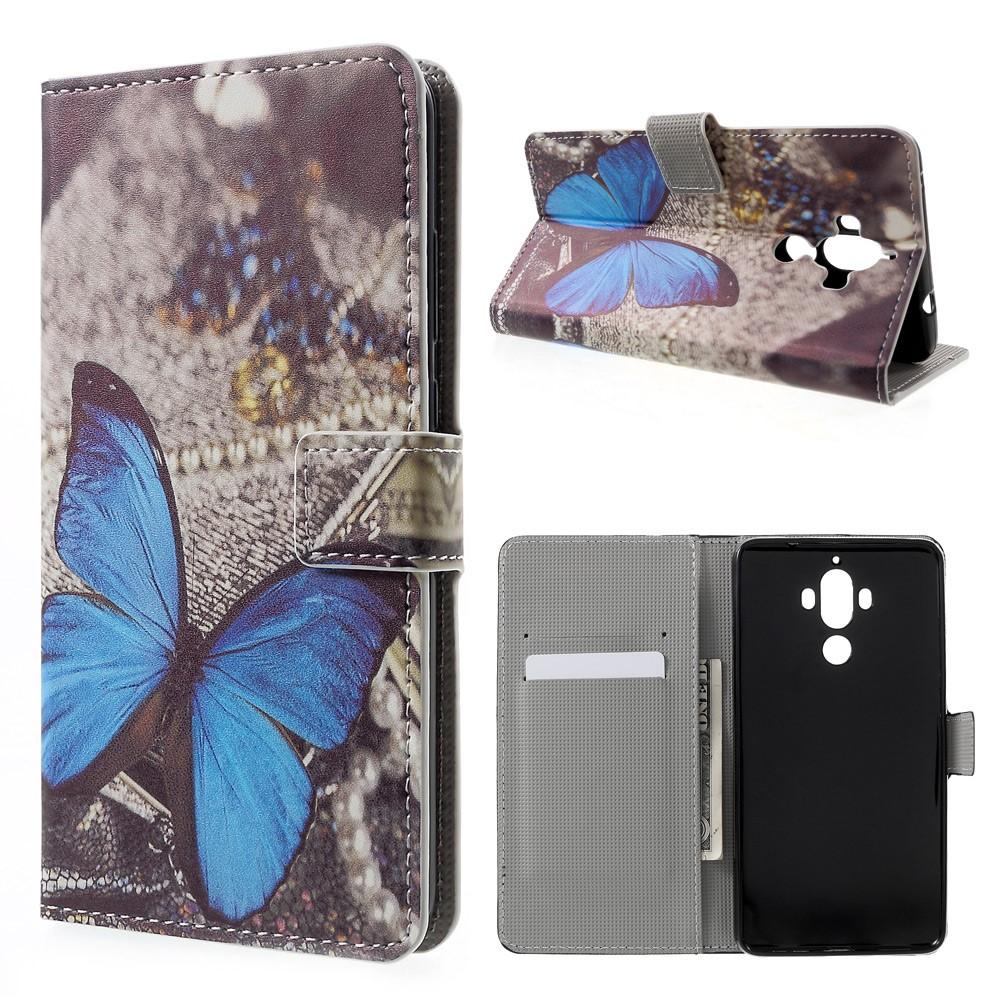 Huawei Mate 9 Leder Tasche Portemonnaie Blauer Schmetterling