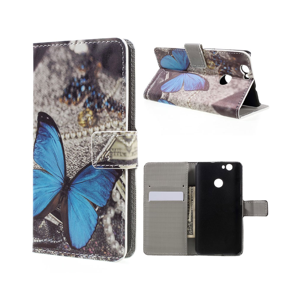 Huawei Nova Leder Tasche Portemonnaie Blauer Schmetterling