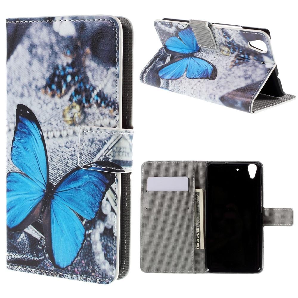 Huawei Y6 Scale Leder Tasche Portemonnaie Blauer Schmetterling