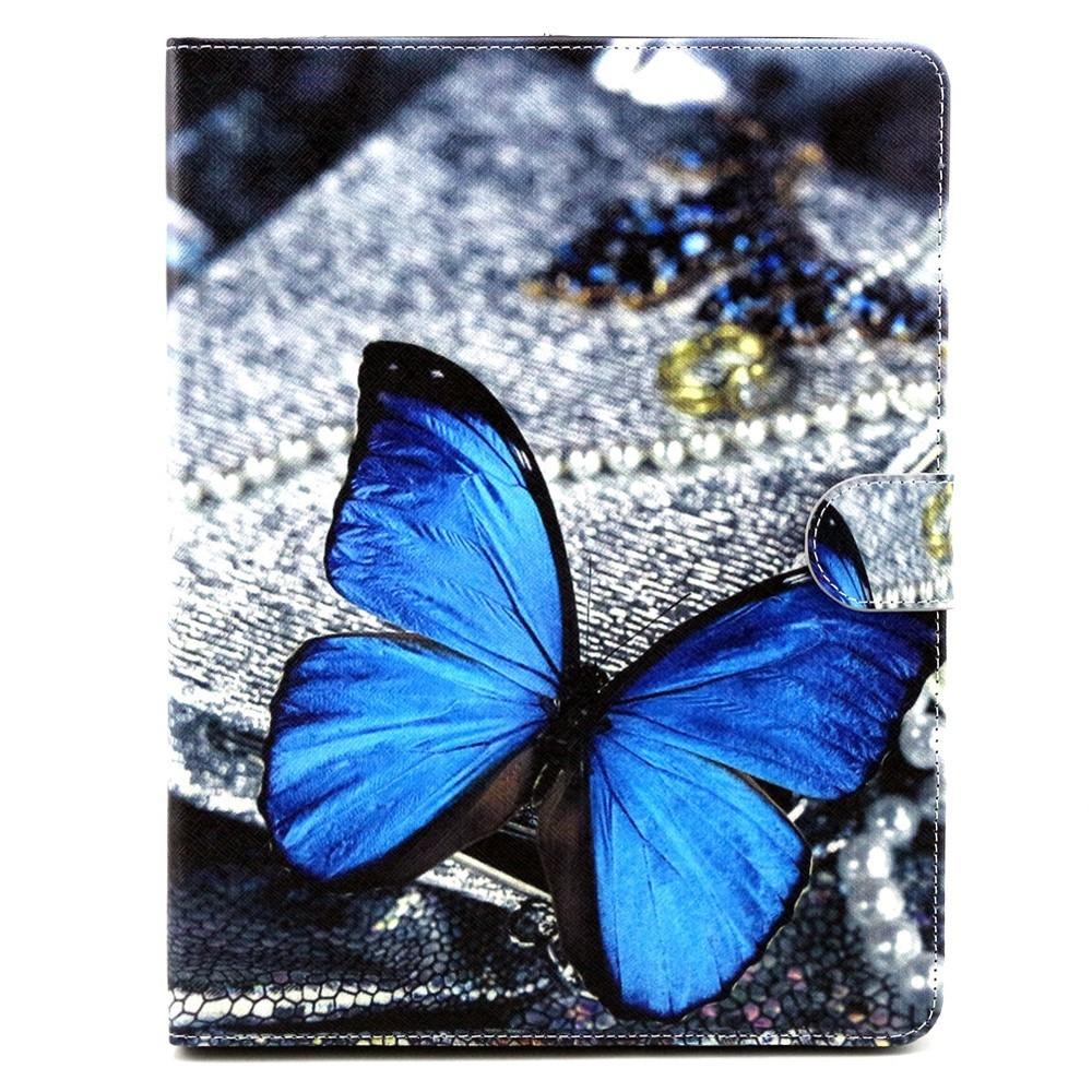 iPad 2 / 3 / 4 Leder Tasche Portemonnaie Blauer Schmetterling