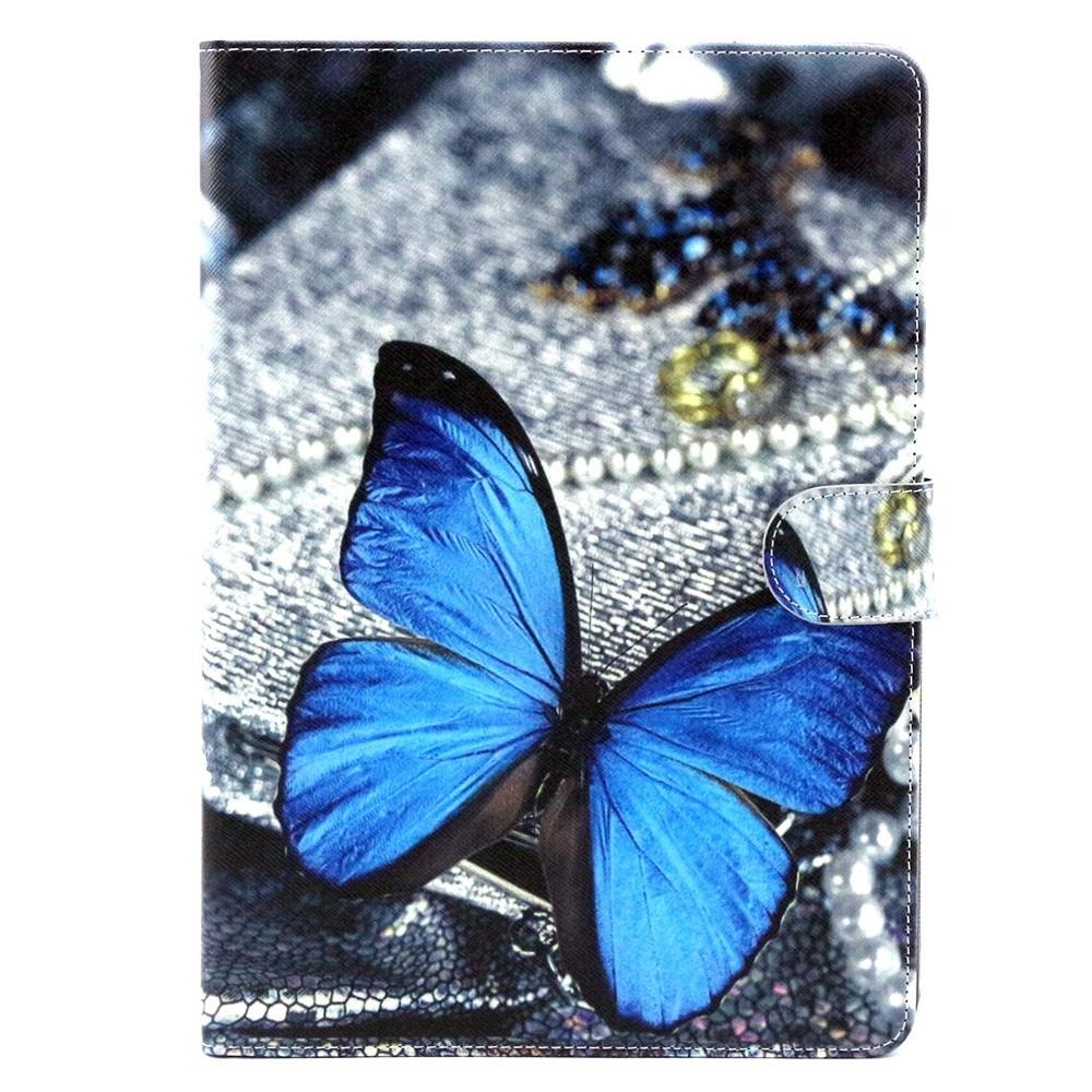 iPad Air 2 Leder Tasche Portemonnaie Blauer Schmetterling