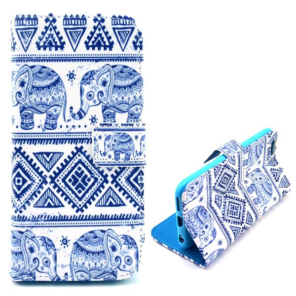 iPhone 6 Plus / 6S Plus Leder Tasche Portemonnaie Elefanten Azteken Look - Weiss / Blau