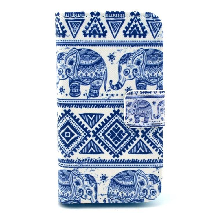 iPhone 4 / 4S Leder Tasche Portemonnaie Elefanten Azteken Look - Weiss / Blau