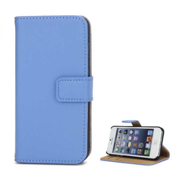 iPhone SE / 5 / 5S Echtleder Tasche Portemonnaie - Blau