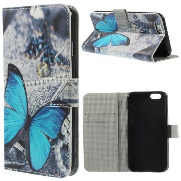 iPhone 6 / 6S Leder Tasche Portemonnaie Blauer Schmetterling