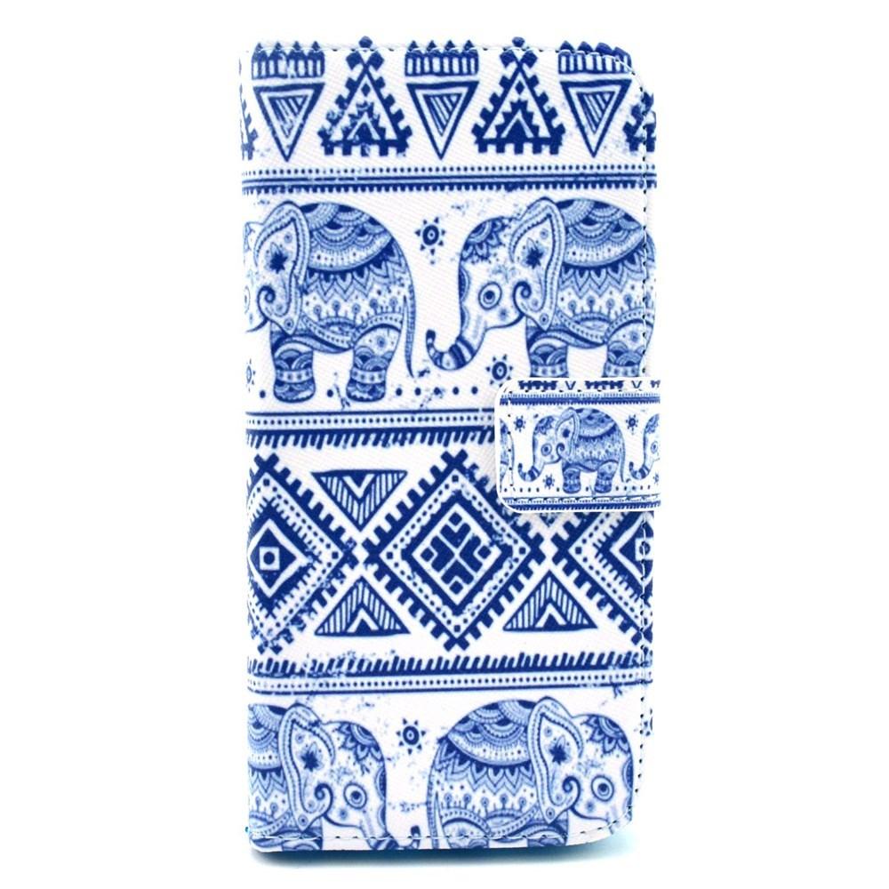 iPhone 6 / 6S Leder Tasche Portemonnaie Elefanten Azteken Look - Weiss / Blau