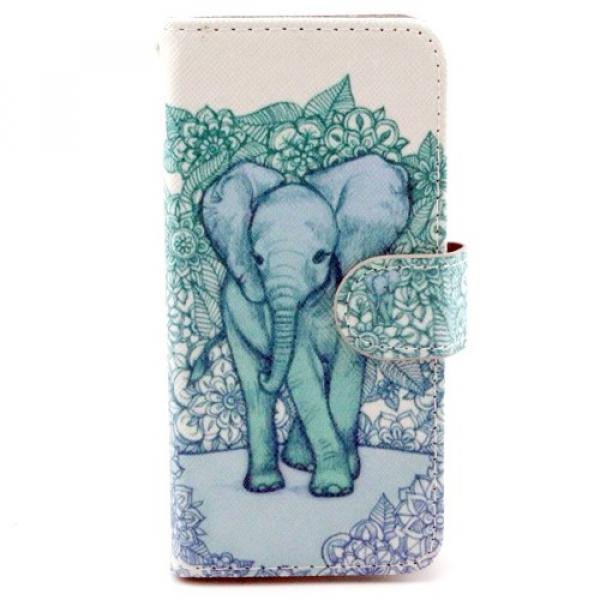 iPhone 6 / 6S Leder Tasche Portemonnaie Elefant - Weiss / Blau