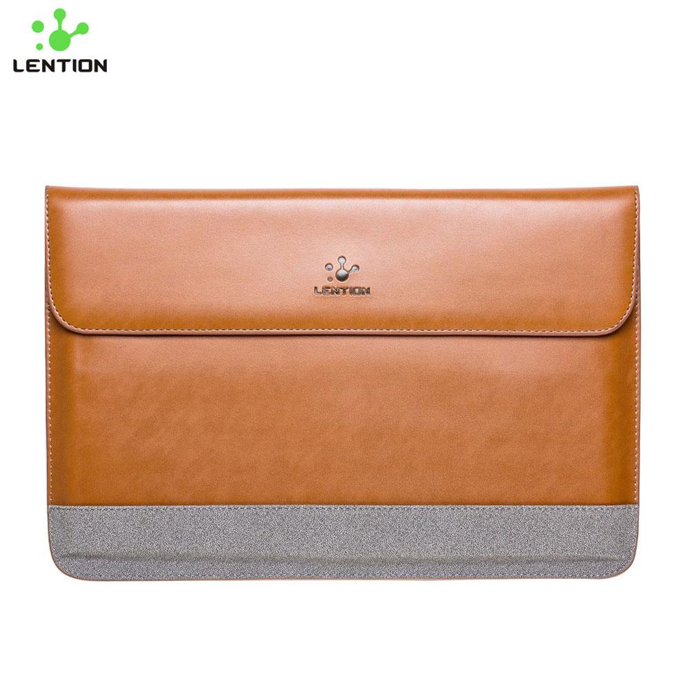 """Leder Notebook Tasche Sleeve für MacBook Pro 15"""" - Braun / Grau"""