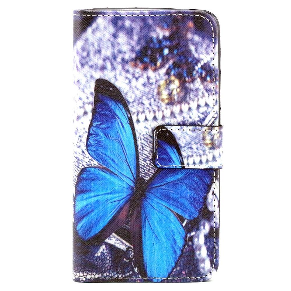 Microsoft Lumia 640 Leder Tasche Portemonnaie - Blauer Schmetterling