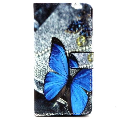 Samsung Galaxy A3 (Modell 2015) Leder Tasche Portemonnaie Blauer Schmetterling