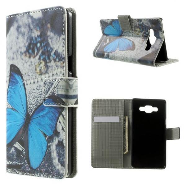 Samsung Galaxy A5 (Modell 2015) Leder Tasche Portemonnaie Blauer Schmetterling