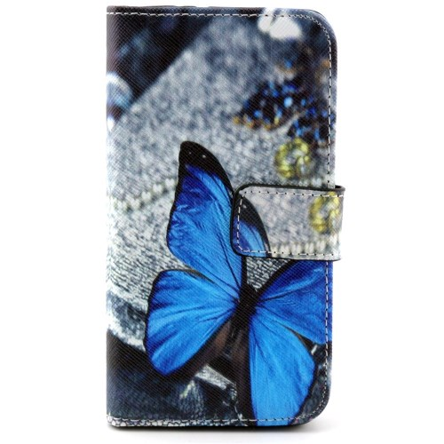 Samsung Galaxy Alpha Leder Tasche Portemonnaie Blauer Schmetterling